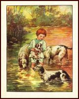 C.M. Bird English Setter Dogs Wade in Steam with Boy